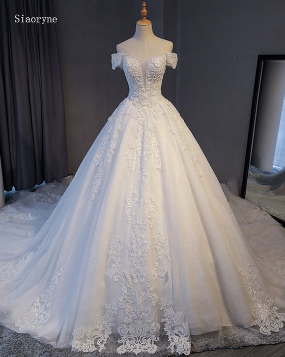 Siaoryne Gorgeous Appliques Lace Chapel Train A-Line Wedding Dress 2021 Luxury Beaded Boat Neck Sexy Bridal Gown Vestido de Noiva WD01219