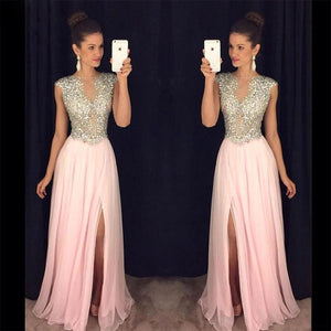 Amazing Crystal A Line Chiffon Prom Formal Dresses Women Long Cap Sleeves Graduation Party Gown