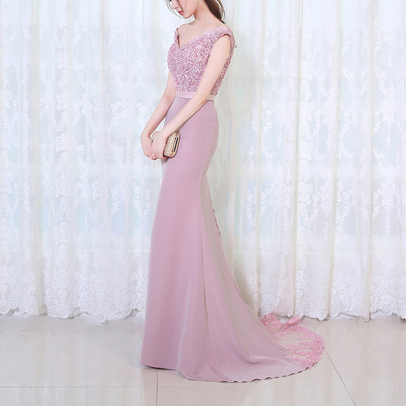 Dreamy Off the Shoulder Dusk Pink Bridesmaid Dress Mermaid Lace Appliqued Women Evening Party Gown