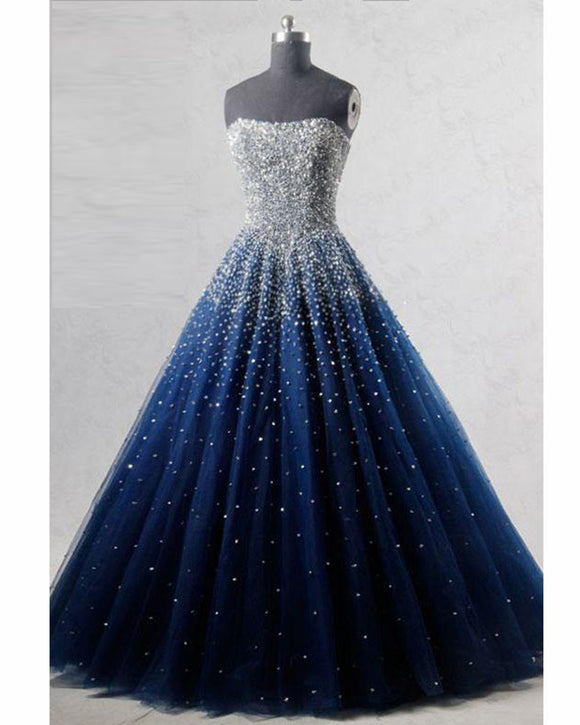 New Sparkle Princess Prom Dress Royal Blue Cinderella ball gown LP3625