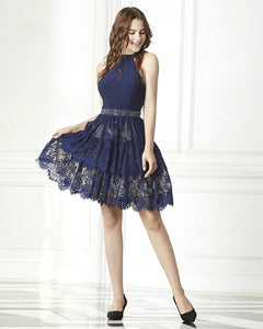 Fancy Navy Blue Halter Lace Short Prom Cocktail Dress Short Homecoming Girls Graduation Gown SP0618