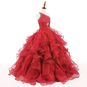 LP5512 Ball Gown Little Girl Pageant Dress Child Formal Gown One Shoulder Floor Length Party flower girl Dress