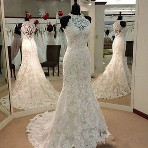 Custom Made Robe De Mariee Lace Bridal Dress Halter Mermaid Wedding Gown 2020 WD5536