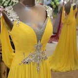 LP5514 Yellow Long Prom Dresses 2018 Crystal Evening Formal Gown Chiffon
