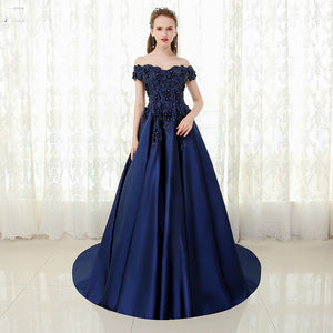 Navy /Burgundy Off the Shoulder Satin Lace Prom Dress Wedding Engagement Dress LP0512
