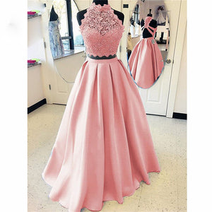 Pink Lace A Lien satin Two Pieces Prom Dress Long Girls Formal Party Gown Long Homecoming Dress