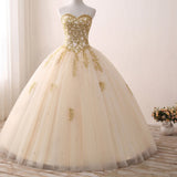Sparkle Gold Lace Ball Gown Prom Dress Princess Quinceanera Dresses 2018 Girls Sweet 16 Party Gown with Beading