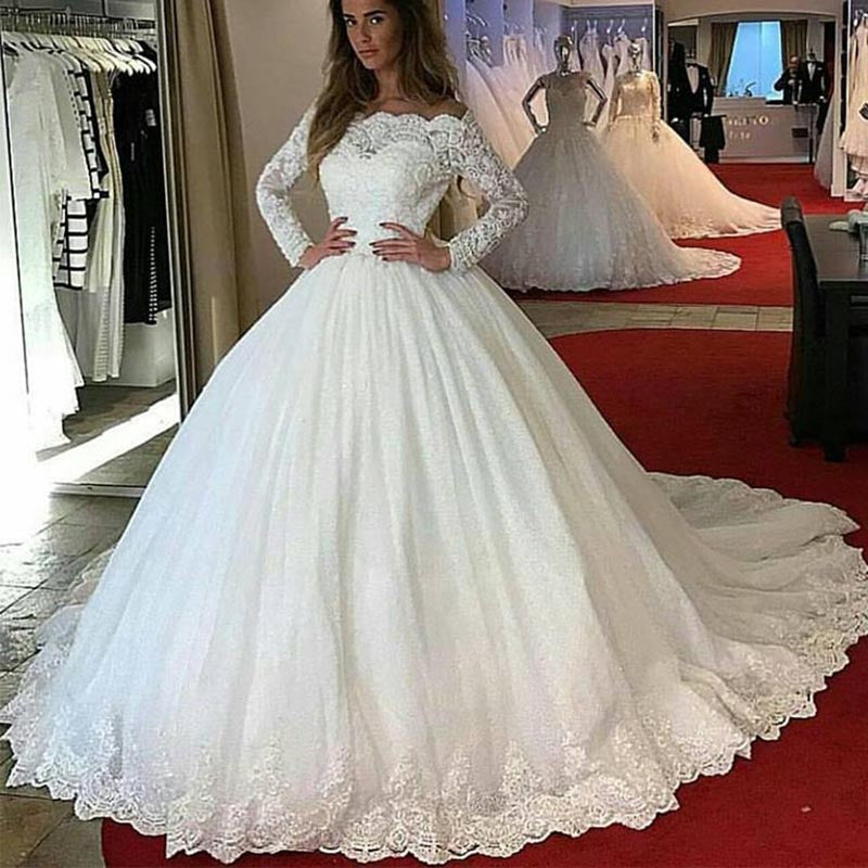 Princess Wedding Gown: LP1245 Off The Shoulder Long Sleeves Lace Ball Gown