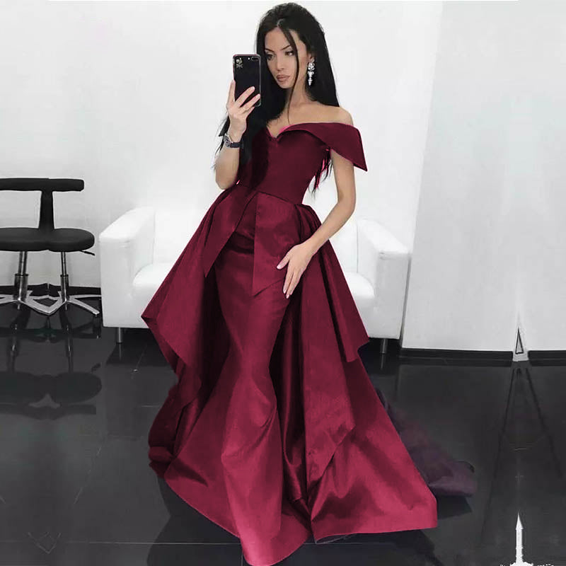 19527ceb84c Dark Red Mermaid Prom Dress Satin off Shoulder women formal Evening Long  Gown with Train ...