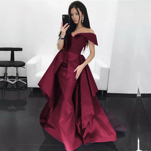 Dark Red Mermaid Prom Dress Satin off Shoulder women formal Evening Long Gown with Train