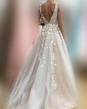 Lace Tulle V Neck Wedding Dresses Champagne Applique Sleeveless A Line  Bridal Dress Vestido De Noiva