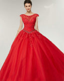 Princess Lace Ball Gown Red vestidos de Quinceanera Dresses Girls Sweet Sixteen Party Dress PD0620