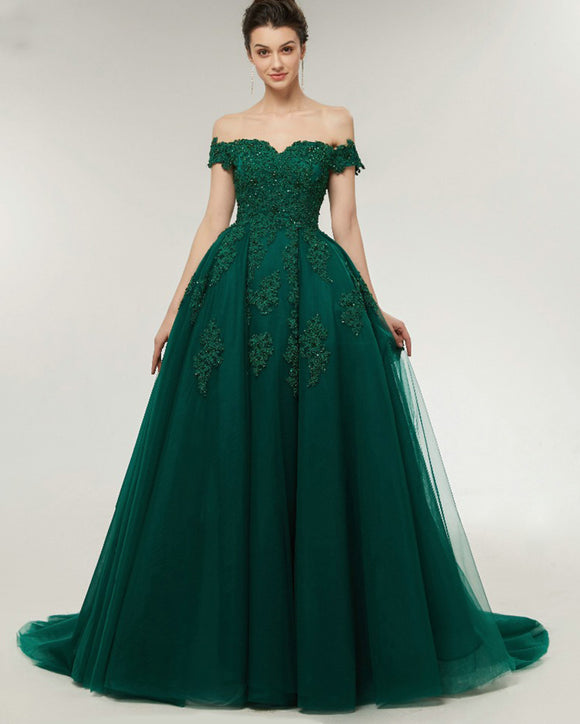 Lace Off the Shoulder Emerald Green Prom Dress Ball Gown Evening Formal Wear ,Women Wedding party Dress PL07041