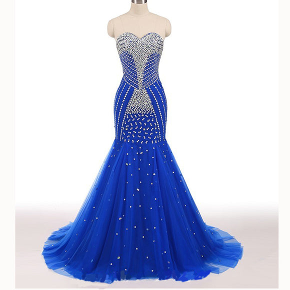 LP5518 Bling Bling Royal Blue Luxury Heavy Beading Prom Dress Mermaid Pageant Gown Sweetheart Formal Evening Dresses 2018