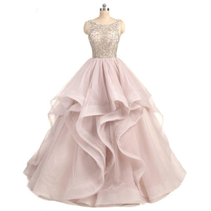 Siaoryne Gorgeous Scoop Neck Beaing Tiered Organza Ball Gown Wedding Dress Custom made