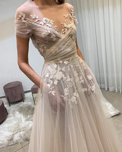 WD0518 Vintage Simple Elegant Lace Floral Boho Wedding Gown with Short Sleeve Pockets A-line Summer Beach Bridal Dresses
