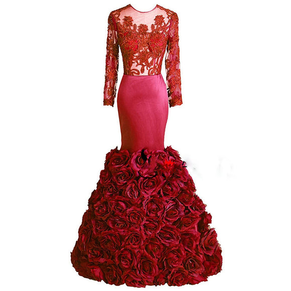 Long Sleeves Mermaid Prom Dresses African Evening Gown with flowers