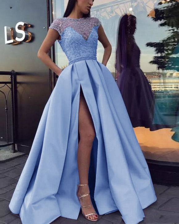 Cap Sleeves Beading A Line Satin Slit Blue Long Prom Evening Dresses PL0901