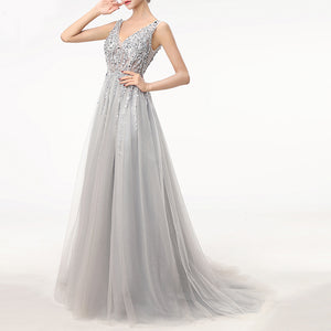 LP7877 Sexy  V Neck  Sequins Crystal Embellishment Women Long Evening Dresses 2018 A line Formal Prom Gown Vestido De Festa