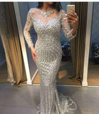 Luxury Heavy Beading Sparkle Mermaid Long Vestido De Festa Formal Pageant Gown PL6654