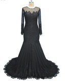 Classy Mermaid Black Evening Dress Long Sleeves Lace Beading Women Formal Gowns