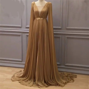 Arabic long gold evening dress long chiffon prom gown for women 2018