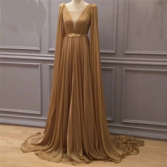 Arabic long gold evening dress long chiffon prom gown for women 2020