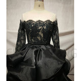 LP7945 Black High Low Prom Dress Off the Shoulder Lace Organza Formal Gowns Pageant Dress 2018