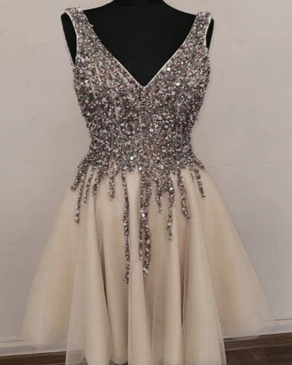 Champagne Beading Sequins Short Graduation Dress for Teens ,Gilrs Homecoming Gown, Cocktail Dress SP0526