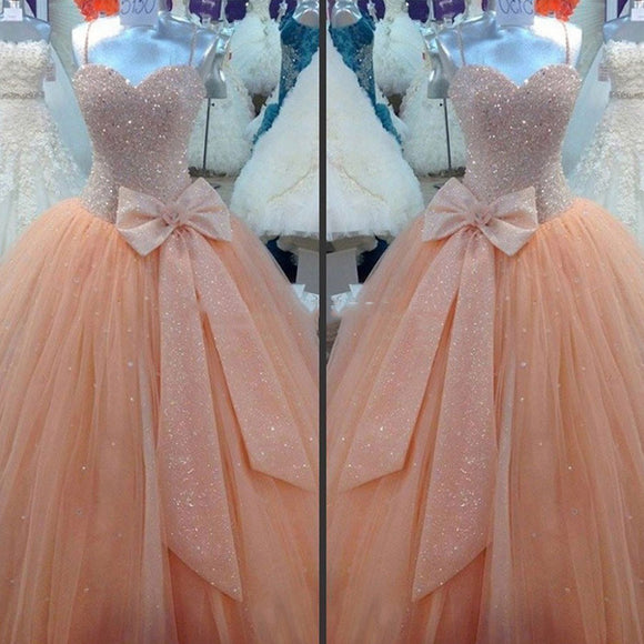 Glamorous Ball Gown Prom Gown Spaghetti Straps Sweet 16 Quinceanera Dresses with Beading