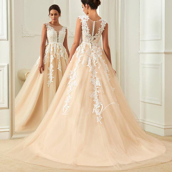 WD627 Vintage Wedding Dress Lace Appliqued,Scoop Neck Champagne Bridal Gown