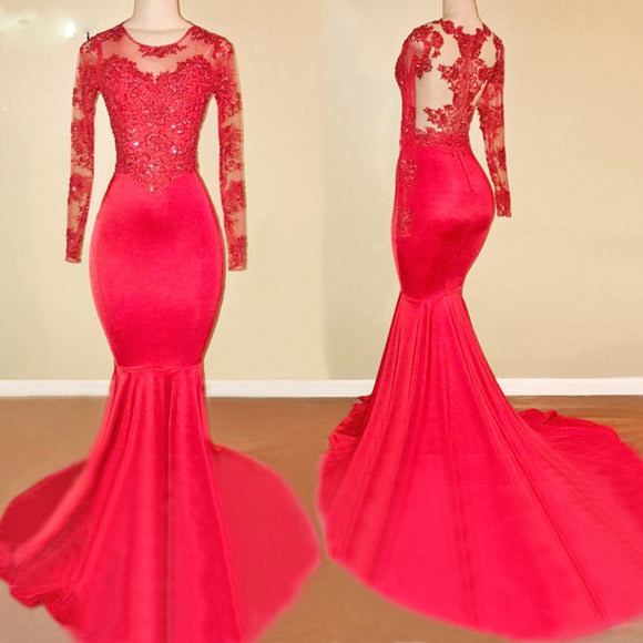 Sexy Fishtail Red Long Sleeves Dress Evening Formal Gown with lace Appliqued  LP716
