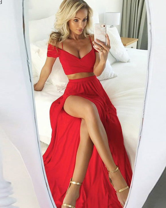Crop Top 2 Pieces Red Long Party Dress Summer Chiffon Prom Gown PL08152