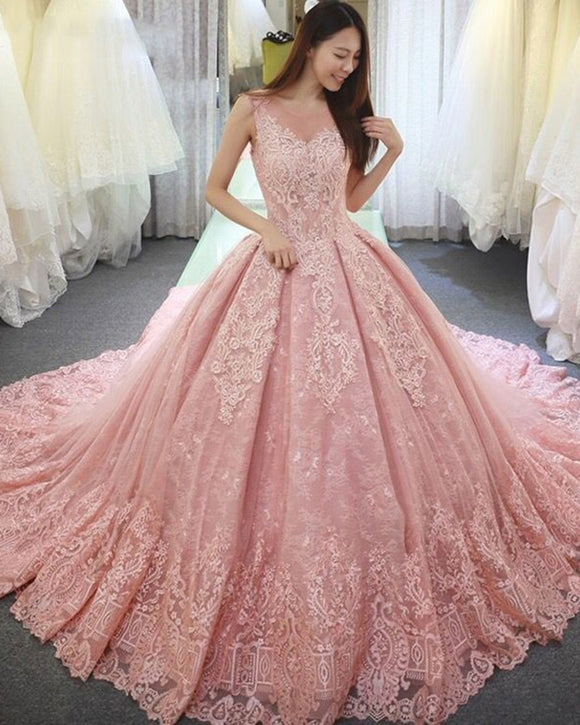 Princess Scoop Neck  Lace Pink Wedding Dress Gown WD10505
