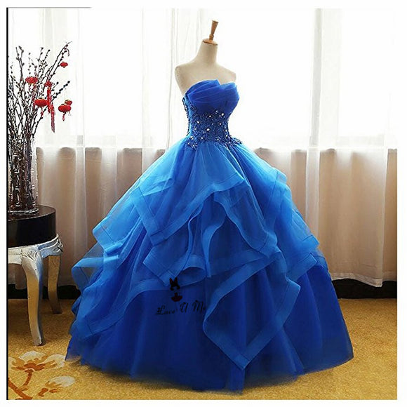 Gorgeous Blue Strapless Ball Gown Quinceanera Dresses Poofy Sweet 16 Birthday Party Gown