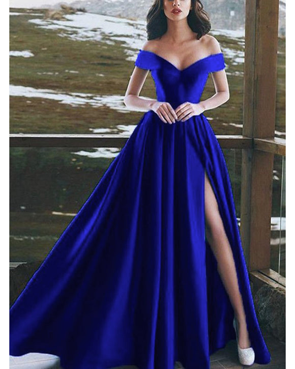 Elegant Satin A Line Off the Shoulder Split Leg Royal Blue Prom Dress Long PL10103