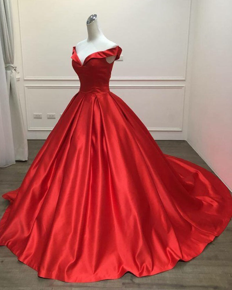 582c23be029 Red Satin Ball Gown prom Dress Long Evening Gown Women Formal Engagement  Gown ...
