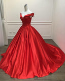 Red Satin Ball Gown prom Dress Long Evening Gown Women Formal Engagement Gown