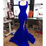Red Scoop Neck Sexy Mermaid Prom Dress Split Leg , Women Evening Long Dress with Straps LP715