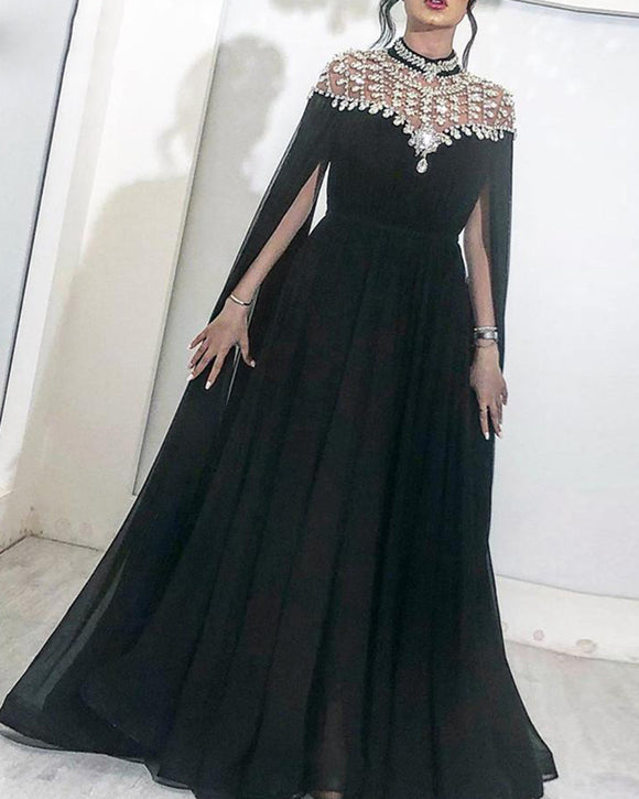 Sparkly Black Evening Dresses High Neck Caped Crystals Chiffon Dubai Kftan Saudi Arabic Long Evening Gown Prom Dress PL012241