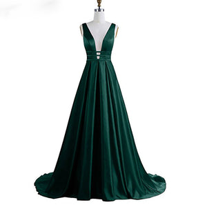 Satin Women Sexy Long Dark Green Prom Gown Wedding Party Gown Special Occasion Weddings Events