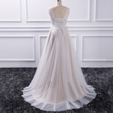 Romantic Tulle Lace Bohemian Bridal Dress Beach Wedding Gown 2018 Brautkleid with Sash