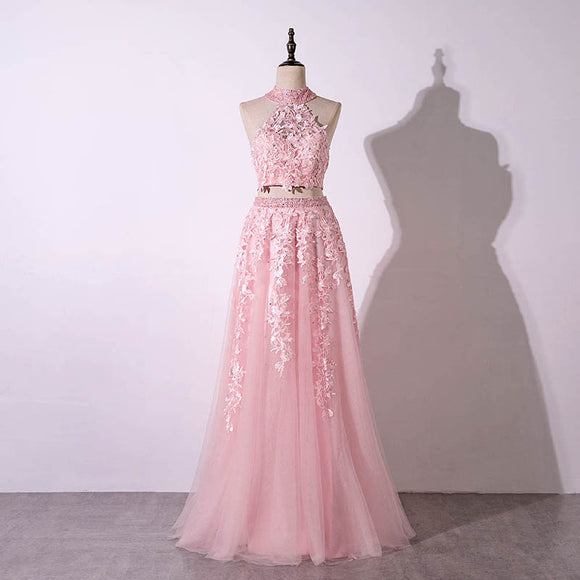 Pink Two Pieces Lace Prom Dress Senior  Graduation Formal Wear Homecoming Long Dress LP820