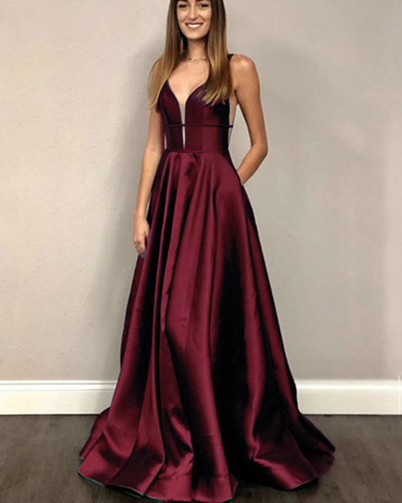 Satin V Neck Burgundy Red Maroon Gowns Long Evening Dress,Long Prom Party Gowns PL07013