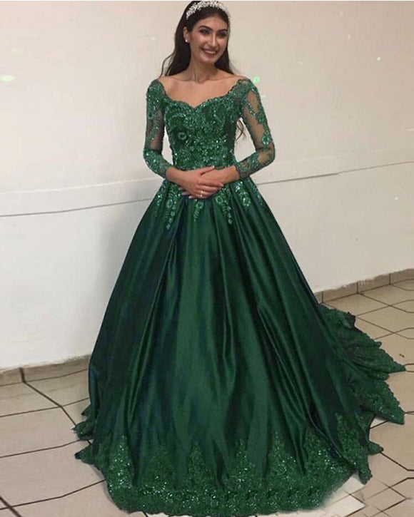 Green/Blue /Burgundy Prom Dress Ball Gown  Vintage Formal Colorful Lace Wedding  Dress for Engagement with Long Sleeves WD0619
