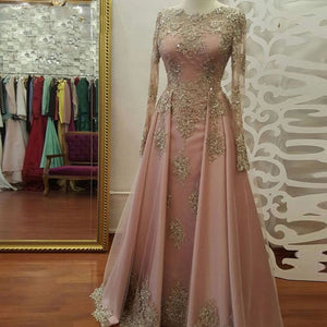 LP4456 Vintage Muslim Long Sleeves Women Formal Evening Gowns Vestido De Festa Longo Gold Lace Appliqued