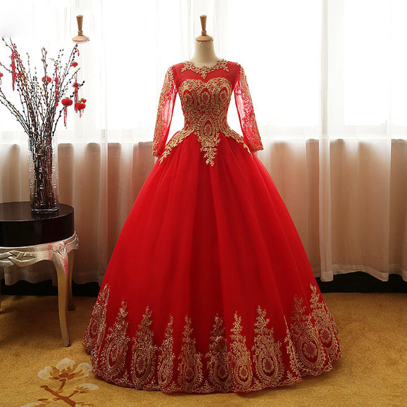 Red and Gold Ball Gown prom dress with Long Sleeves Wedding gown WD750
