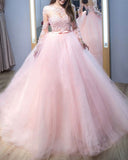 Sweet Pink Princess Quinceanera Dress Ball Gown Prom Lace Vintage Long Sleeves Ceremony Debutante Gown fpr Sweet 15 Party