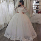 Long Sleeves Wedding Dresses Vintage Lace Ball Gown Bridal Dresses