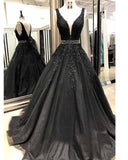 Siaoryne Black Lace Girls Senior Prom Dresses Long with Beading Belt V Neck Formal Gowns PL6522